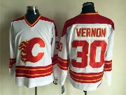 Mens nhl calgary flames #30 vernon white throwbacks Jersey