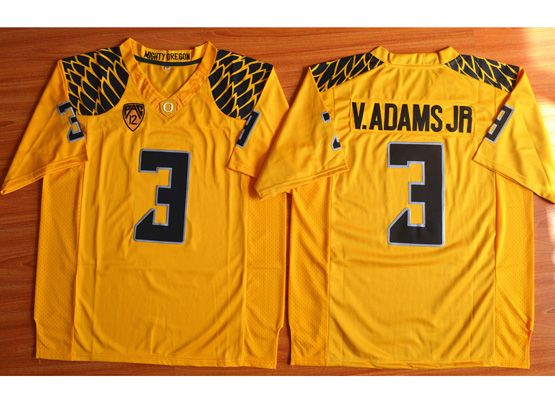Mens Ncaa Nfl Oregon Ducks #3 V.adams Jr Yellow (black Number) Jersey