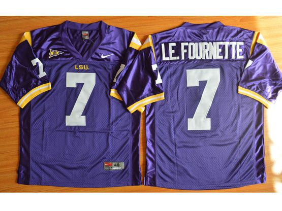 Mens Ncaa Nfl Lsu Tigers #7 Leonard Fournette Purple Jersey Sn