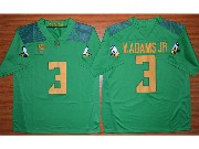 Mens Ncaa Nfl Oregon Ducks #3 V.adams Jr Green (gold Number) Jersey
