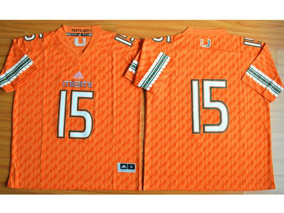 Mens Ncaa Nfl Miami Hurricanes #15 Brand Kaaya (2015 New) Orange Jersey