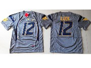 Mens Ncaa Nfl Virginia Mountaineers #12 Luck Gray Jersey Sn