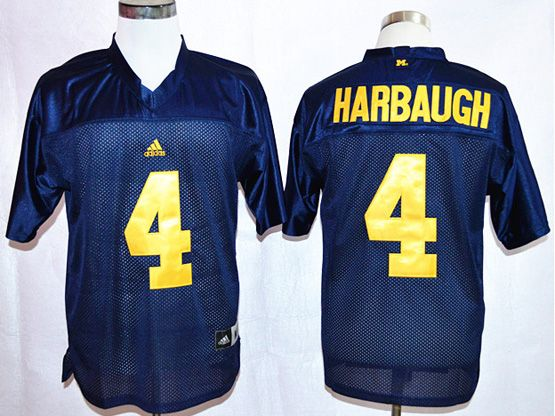 Mens Ncaa Nfl Michigan Wolverines #4 Harbaugh Blue Jersey