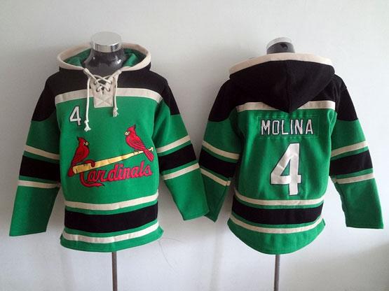 Mens Mlb St.louis Cardinals #4 Molina Green Hoodie Jersey