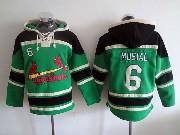 Mens Mlb St.louis Cardinals #6 Musial Green Hoodie Jersey