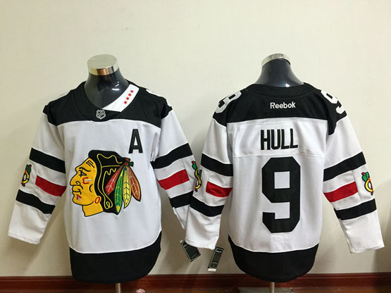 Mens Reebok Nhl Chicago Blackhawks #9 Hull White (2016 Stadium Series) Jersey