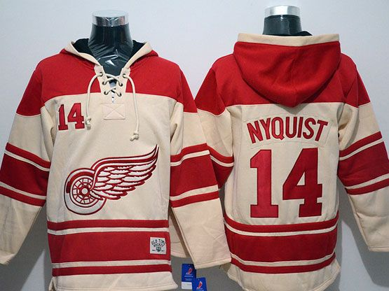 Mens nhl detroit red wings #14 nyquist cream hoodie Jersey
