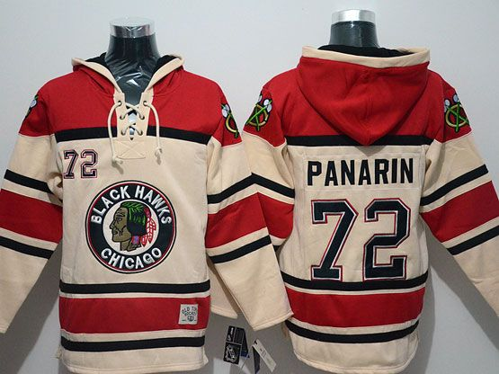 Mens nhl chicago blackhawks #72 panarin cream hoodie Jersey