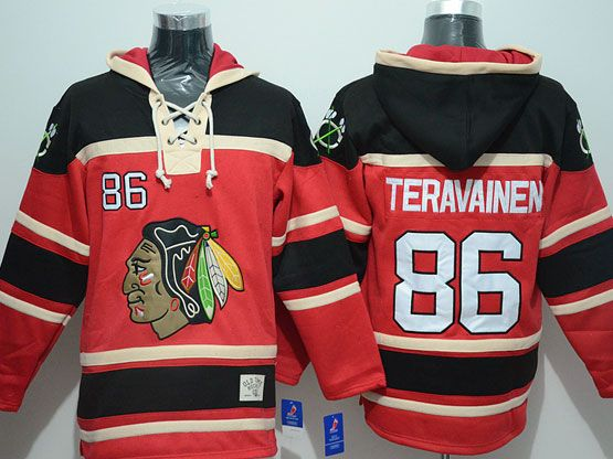 Mens nhl chicago blackhawks #86 teravainen red hoodie Jersey