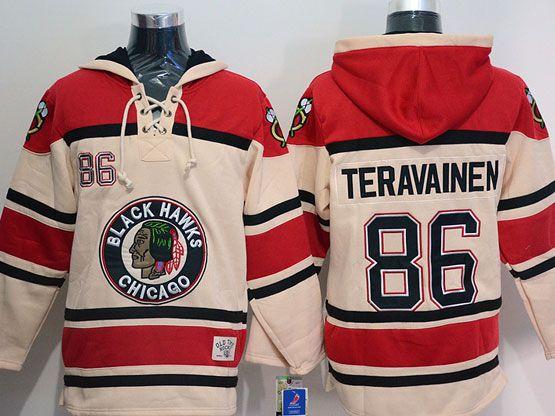 Mens nhl chicago blackhawks #86 teravainen cream hoodie Jersey