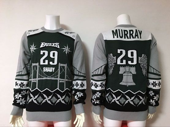 Mens Nfl Philadelphia Eagles #29 Murray Black Crew Neck Pullover Ugly Sweater