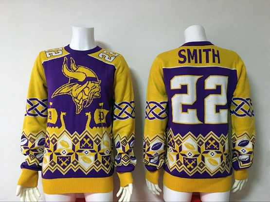 Mens Nfl Minnesota Vikings #22 Smith Purple Crew Neck Pullover Ugly Sweater Limited Jersey