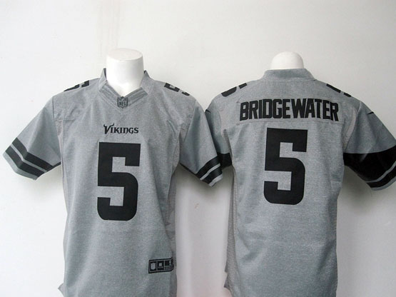 Mens Nfl Minnesota Vikings #5 Briogewater Gray (black Number) Limited Jersey