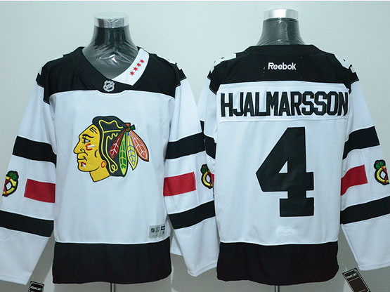 Mens Reebok Nhl Chicago Blackhawks #4 Hjalmarsson White (2016 Stadium Series) Jersey