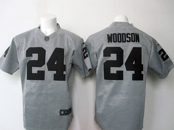 mens nfl Oakland Raiders #24 Charles Woodson gray limited jersey