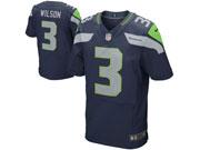 Mens   Seattle Seahawks #3 Russell Wilson Navy Blue Elite Jersey