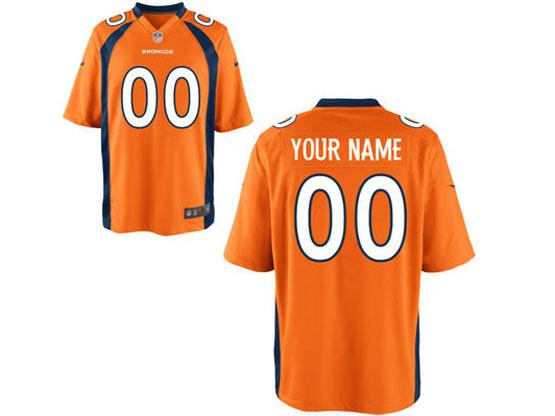 Youth Nfl Denver Broncos (custom Made) Orange Game Jersey