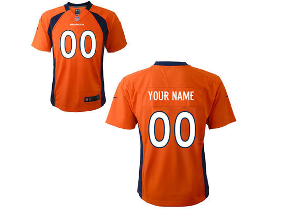 Kids Nfl Denver Broncos (custom Made) Orange Game Jersey