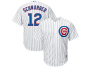 Majestic Chicago Cubs #12 Kyle Schwarber White Stripe Cool Base Jersey