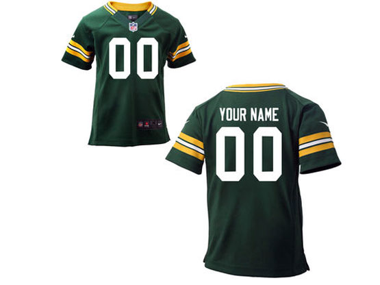 Kids Nfl Green Bay Packers (custom Made) Green Game Jersey