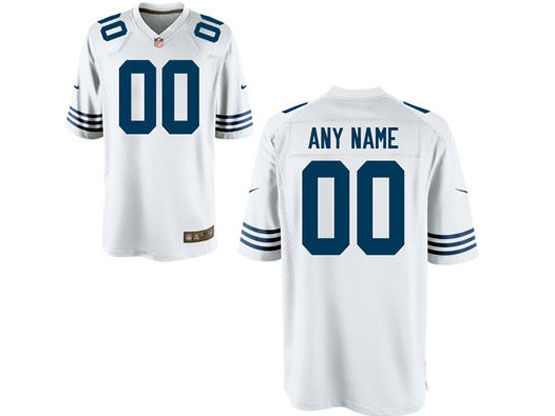 Youth Nfl Indianapolis Colts (custom Made) White Game Jersey