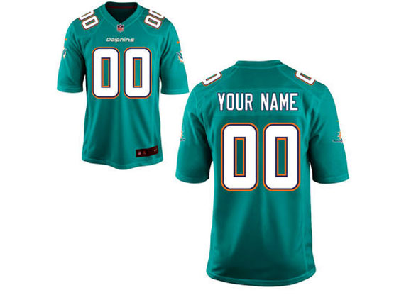Nfl Miami Dolphins (custom Made) Green Game Jersey