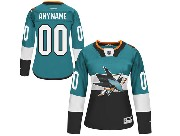 Women Reebok Nhl San Jose Sharks (custom Made) Green (2015 Stadium Series) Jersey