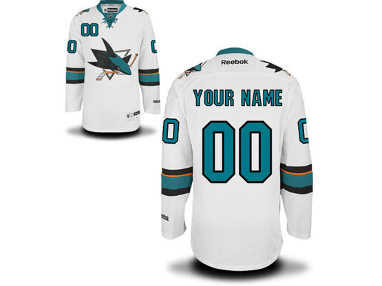 Mens Reebok San Jose Sharks White Away Premier Jersey