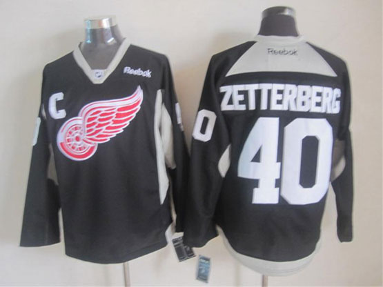 Mens reebok nhl detroit red wings #40 zetterberg black (2015 new train) Jersey