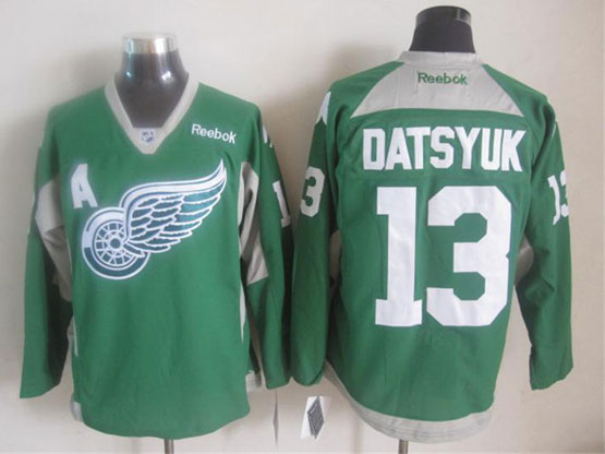 mens reebok nhl Detroit Red Wings #13 Pavel Datsyuk green (2015 new train) jersey