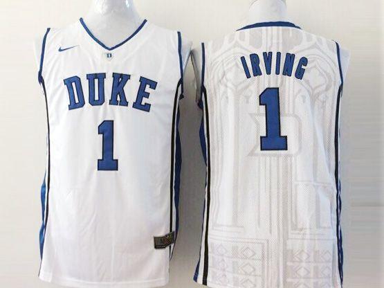 Mens Ncaa Nba Duke Blue Devils #1 Irving White Jersey Sn