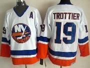 Mens nhl new york islanders #19 trottier white throwbacks Jersey
