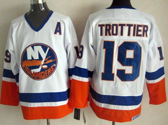 Mens nhl new york islanders #19 trottier white throwbacks Jersey