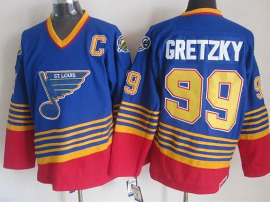 mens nhl st.louis blues #99 Wayne Gretzky blue (diagonal stripes) throwbacks jersey