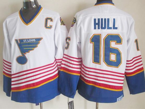 Mens nhl st.louis blues #16 hull white (diagonal stripes) throwbacks Jersey