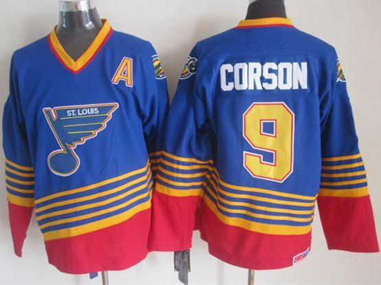 Mens nhl st.louis blues #9 corson blue (diagonal stripes) throwbacks Jersey