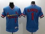 mens majestic st.louis cardinals #1 ozzie smith blue Flex Base jersey