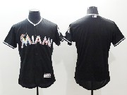 mens majestic mlb miami marlins blank black Flex Base jersey