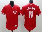 mens majestic cincinnati reds #11 barry larkin red Flex Base jersey
