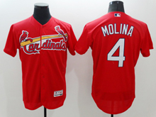 mens majestic st.louis cardinals #4 yadier molina red Flex Base jersey