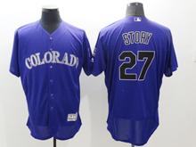 mens majestic colorado rockies #27 trevor story purple Flex Base jersey