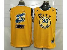 Mens Adidas Golden State Warriors #30 Stephen Curry Gold Hardwood Classics Swingman Jersey
