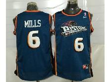 Mens Nba Detroit Pistons #6 Terry Mills Blue Mesh Jersey