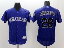 mens majestic colorado rockies #28 nolan arenado purple Flex Base jersey