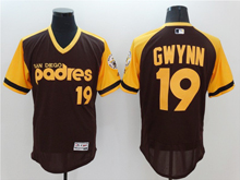 Mens Majestic San Diego Padres #19 Tony Gwynn Coffee (yellow) Throwbacks Flex Base Jersey