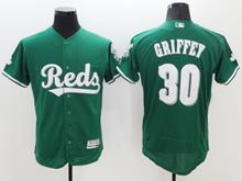 Mens Mlb Cincinnati Reds #30 Ken Griffey Jr Green Flex Base Jersey