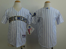 Youth Mlb Milwaukee Brewers (blank) White&blue Stripe Jersey