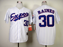 Mens Mlb Montreal Expos #30 Raines White (blue Stripe) 1982 Throwbacks Jersey