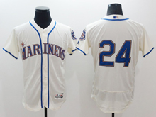 Mens Mlb Seattle Mariners #24 Ken Griffey Jr White (no Name) Flex Base Jersey