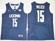 Mens Ncaa Nba Uconn Huskies #15 Kemba Walker Navy Blue Jersey
